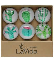 Cacti Art Glass Magnets Set of 6