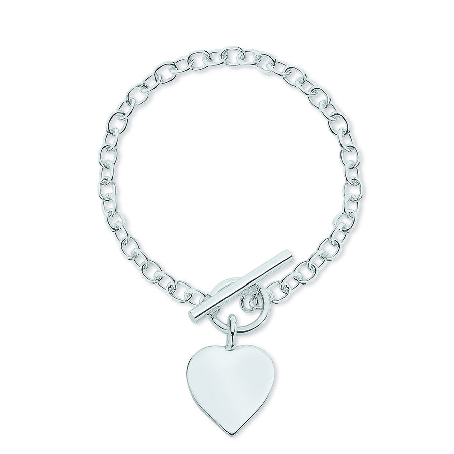 Sterling Silver Cable Link 19cm Bracelet with Heart and T-Bar