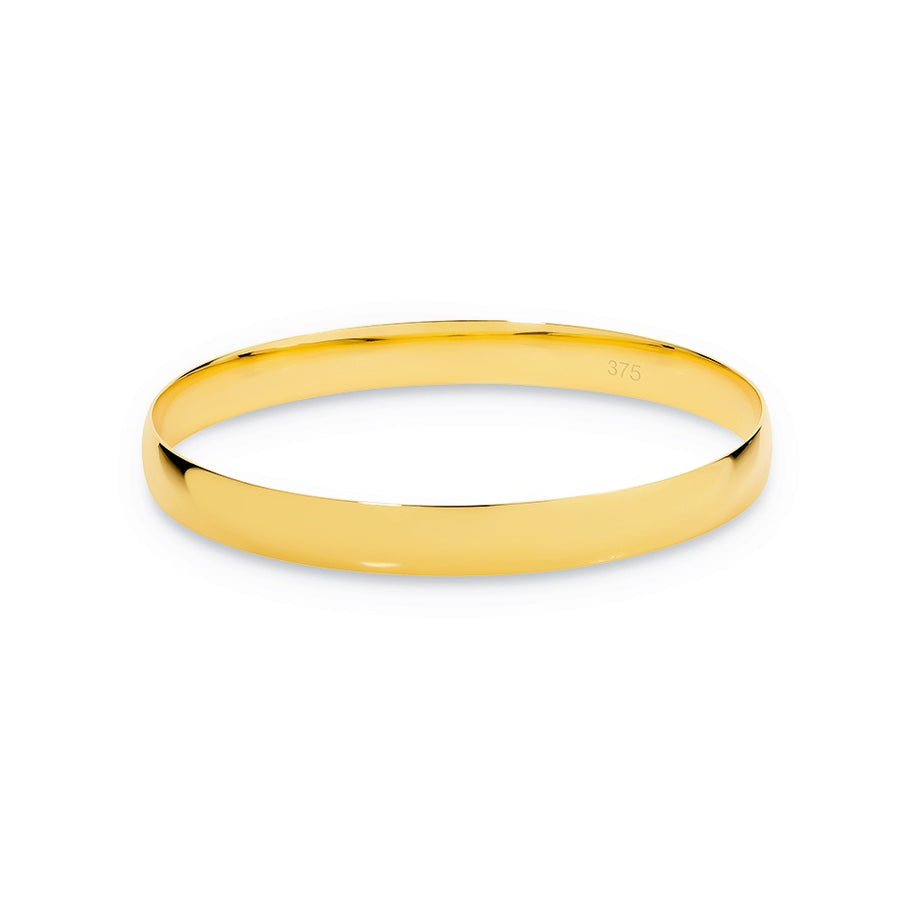 9ct Yellow Gold 8mm Half Round Bangle 65mm