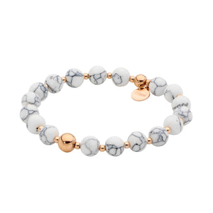 Stainless Steel Rose Plated 8mm Howlite Ball Stretch Bracelet