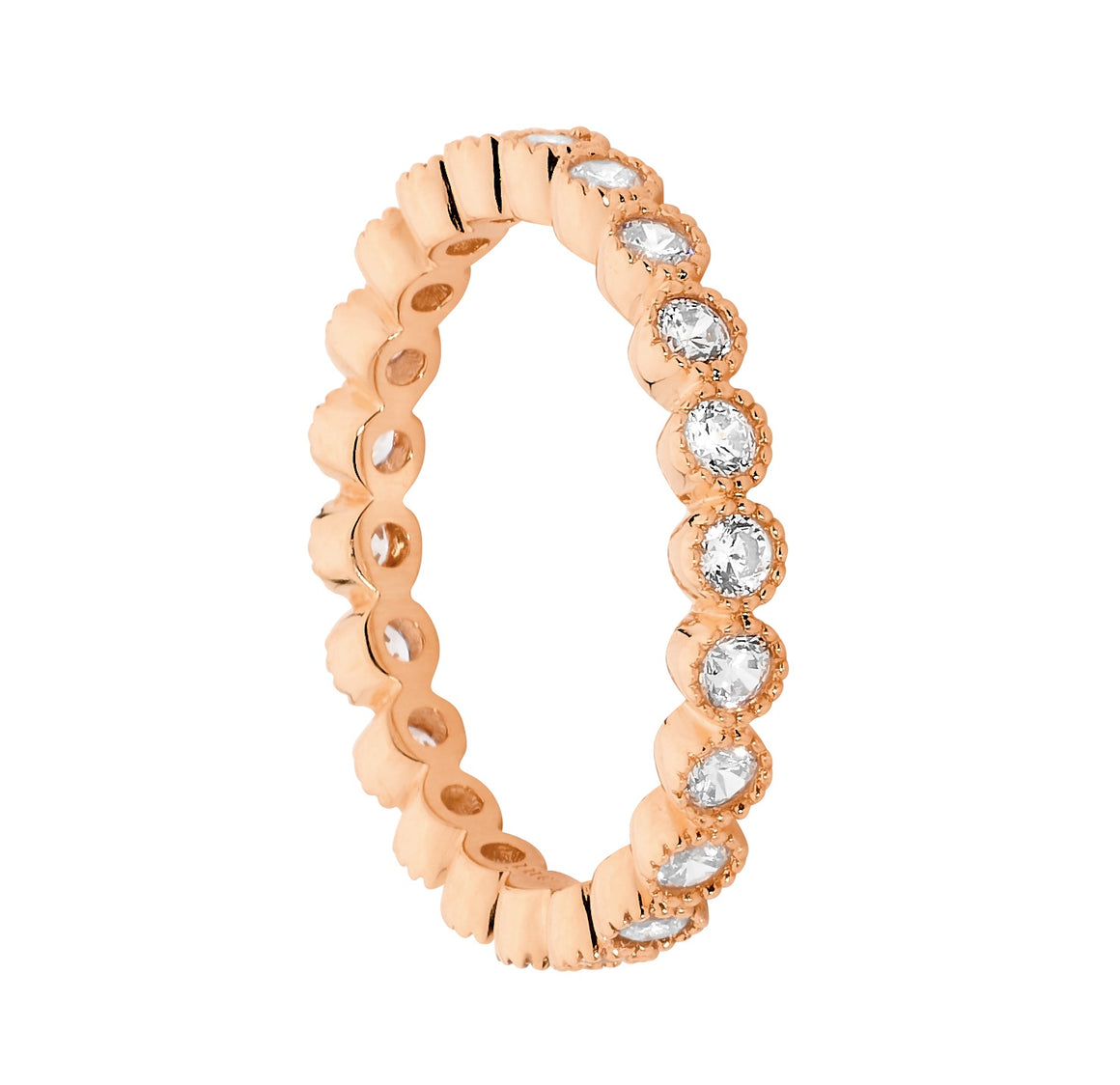Sterling Silver Rose Gold Plated White CZ Crown Set Eternity Ring Size O