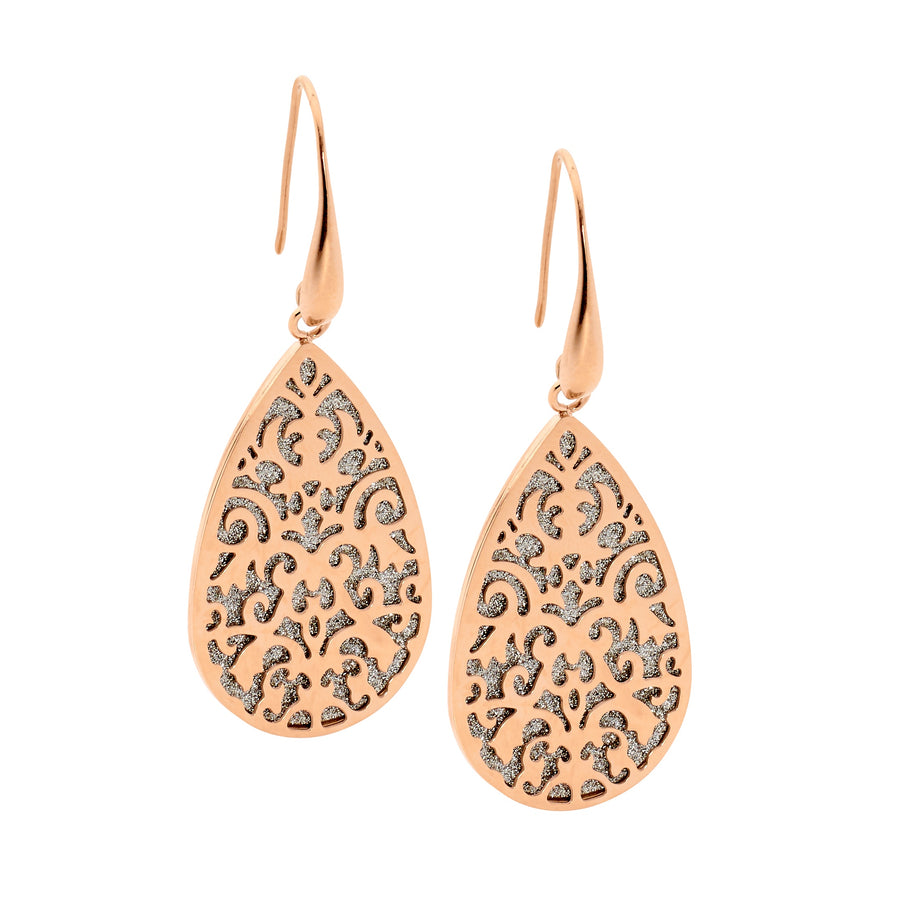 Stainless Steel Rose Plated Filigree Tear Drop Earrings with Shimmer Back