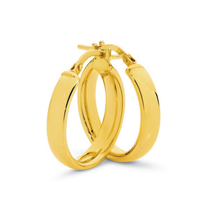 9ct Yellow Gold/Silver Filled Medium Hoops