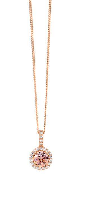 Sterling Silver Rose Gold Plated Morganite CZ with white CZ Halo Pendant & Chain