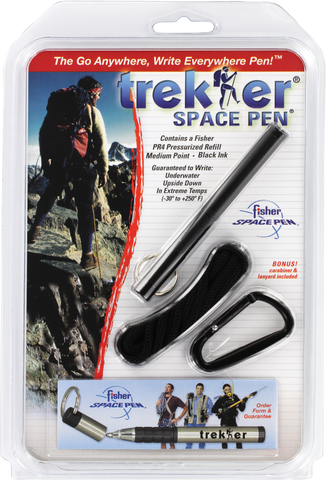 A725B - Matte Black trekker Space Pen w/ Keyring, Carabiner and Lanyard