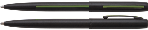 AM4BGRL - Non-Reflective Matte Black Cap-O-Matic Space Pen w/ Thin Green Line: Federal Agents, Park Rangers, Border Patrol, Military, and Conservation