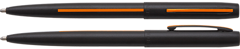 AM4BSROL - Matte Black Cap-O-Matic Space Pen w/ Thin Orange Line: Search & Rescue Personnel