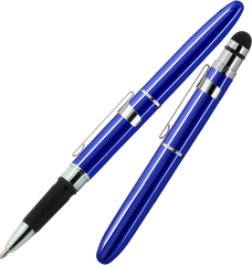 ABG1CL/S - Blue Bullet Grip Space Pen w/ Stylus and Chrome Clip