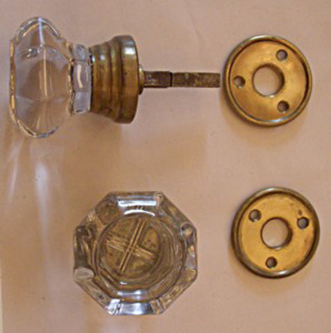 1890's stepped glass octagonal glass doorknob