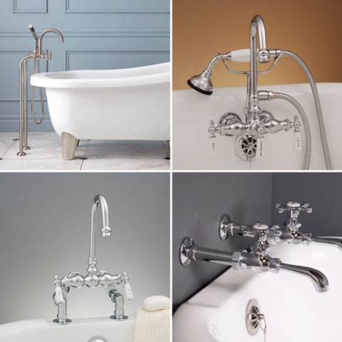clawfoot tub plumbing fixtures. Thinking about adding some tub coasters  Make sure your plumbing drain and supply lines will fit the new height Although needing to go shorter may add How Buy Care For a Clawfoot Tub 101 Hippo Hardware