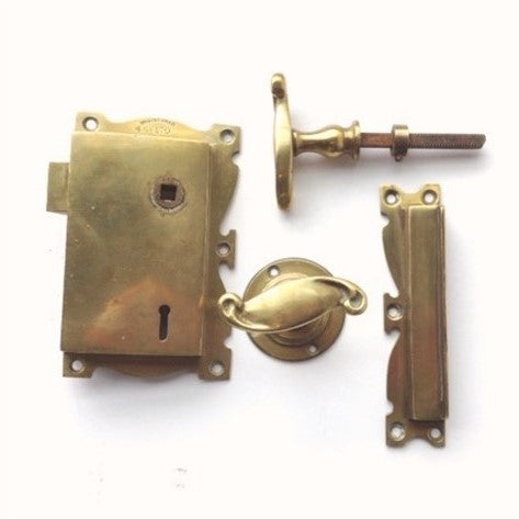 Complete Brass Rim Lock Set circa 1910
