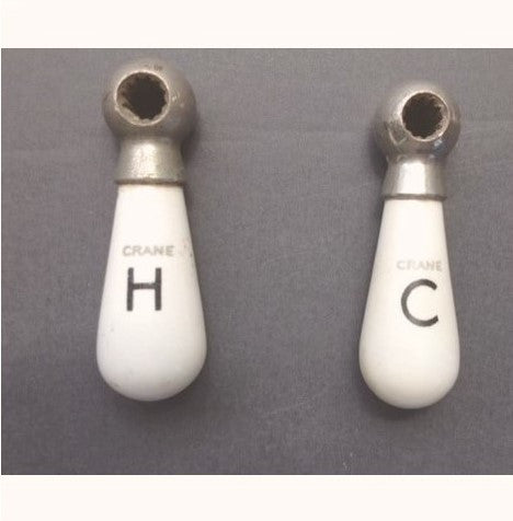 Crane Hot Cold Antique Porcelain Lever Handles