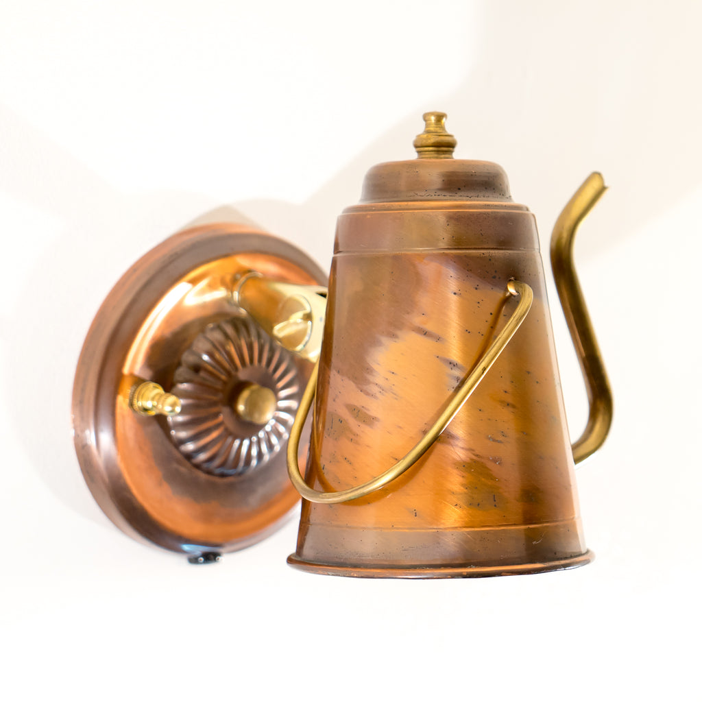Reclaimed Copper Little Tea Pot Wall Sconce