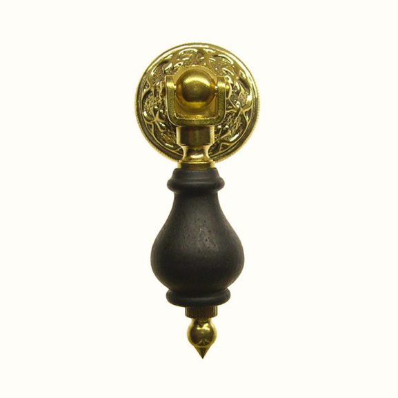 Wood and Brass Victorian Drop Pull