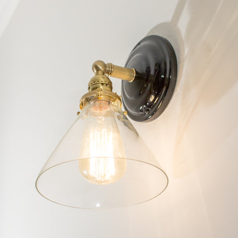 Brass Schoolhouse Electric Sconce with Black Porcelain