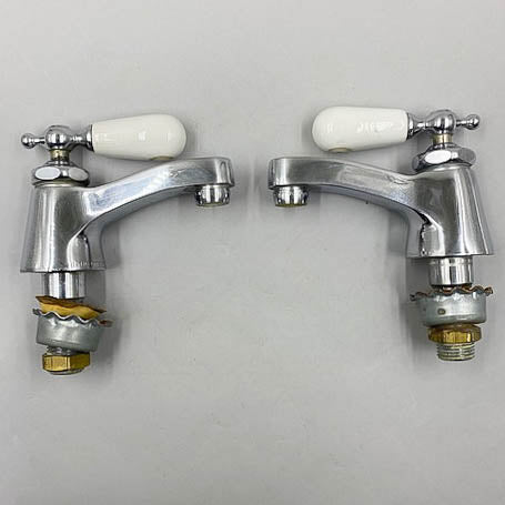 Chicago Vintage Porcelain Hot Cold Tap Faucets