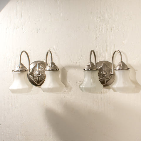 Pair of Silver Double Reproduction Sconces with Glass