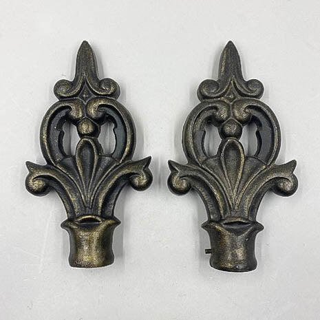 Ornate Vintage Iron Curtain Rod Ends