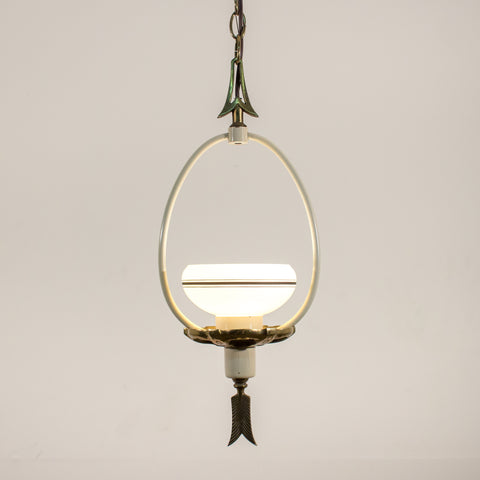 1940's Arrow Ceiling Fixture with Drop In Stripe Shade