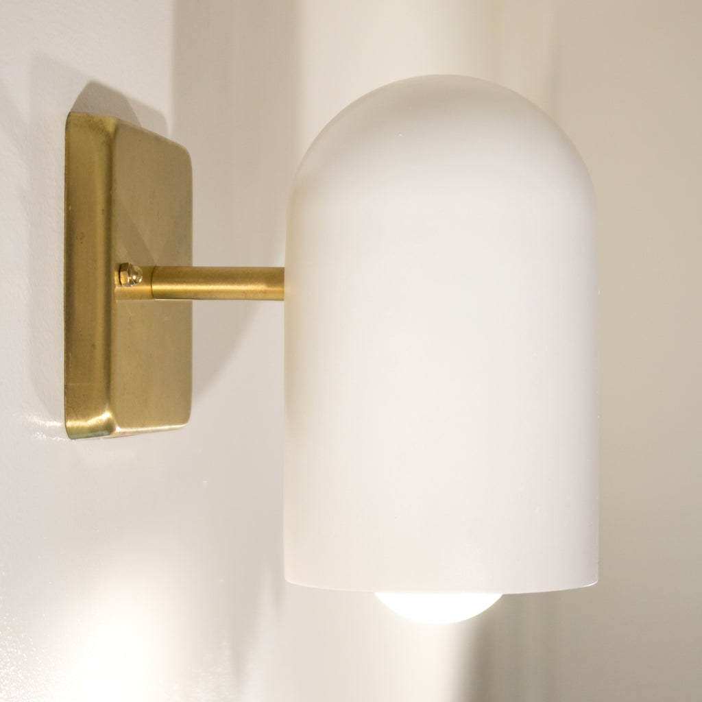 Brass and White Enamel Modern Schoolhouse Electric Sconce