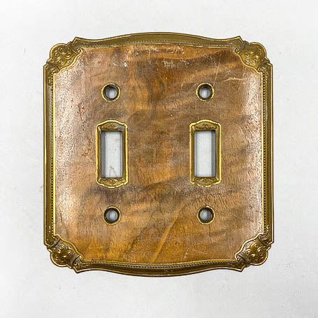 1930's Walnut and Brass Double Light Switch Plate