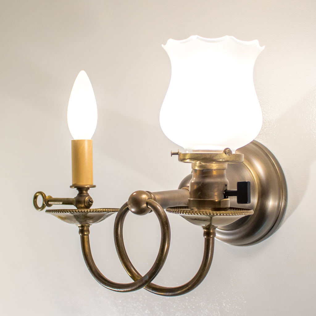 Double Curved Arm Sconce with Glass