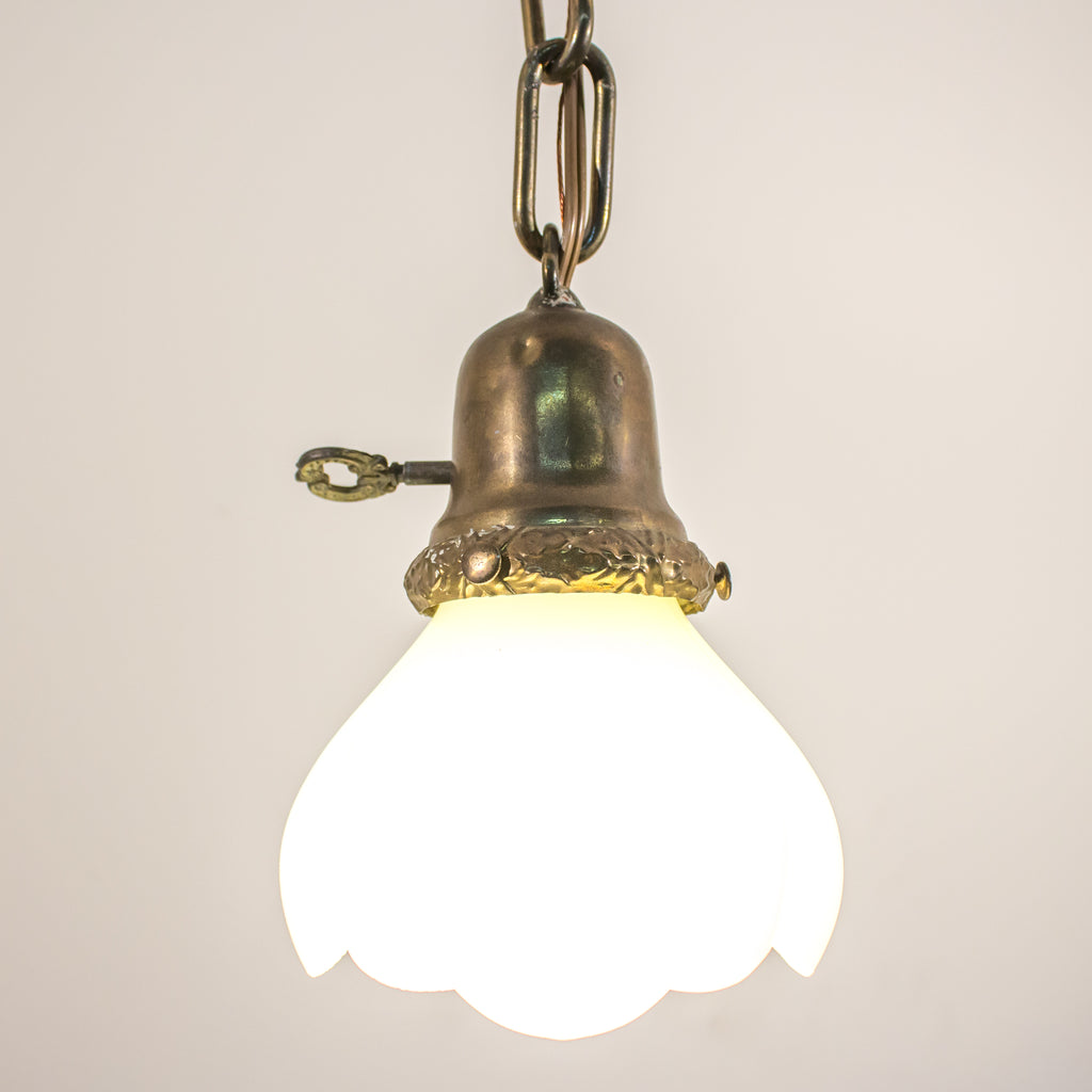 Brass Pendant Light with Vasoline Tulip Glass