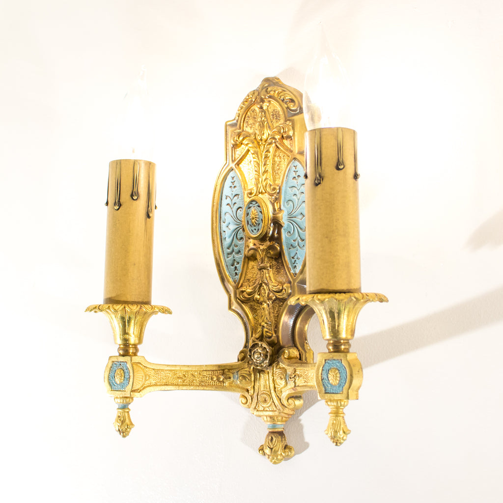 Gold 1920's Double Sconces (set of 3)