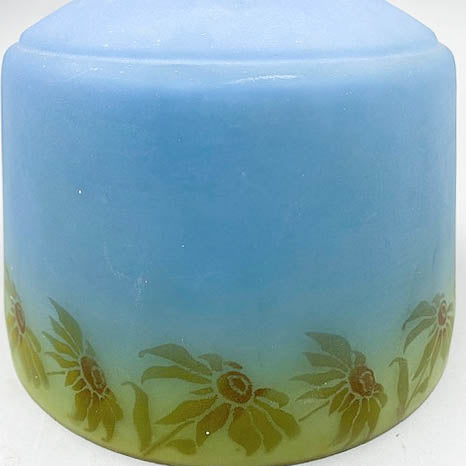 Blue 1930s Stenciled Flower Glass Light Shade