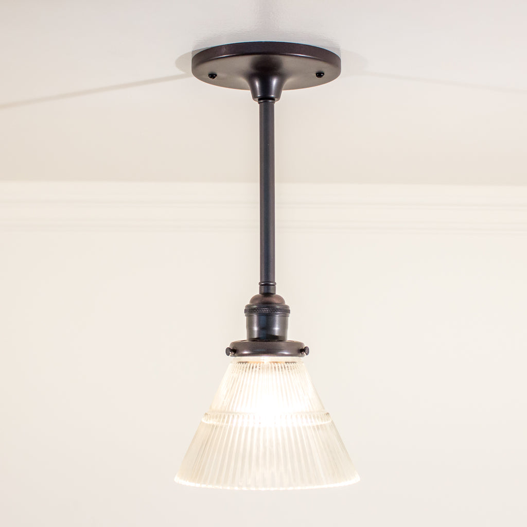 Oil rubbed bronze Schoolhouse Electric Stem Pendant with Glass