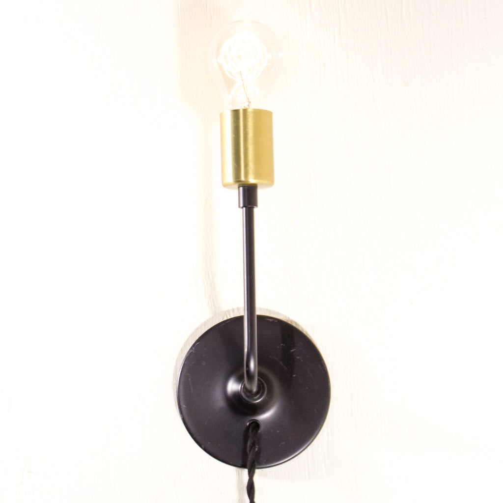 Modern Brass and Black Schoolhouse Electric Sonce with Plug