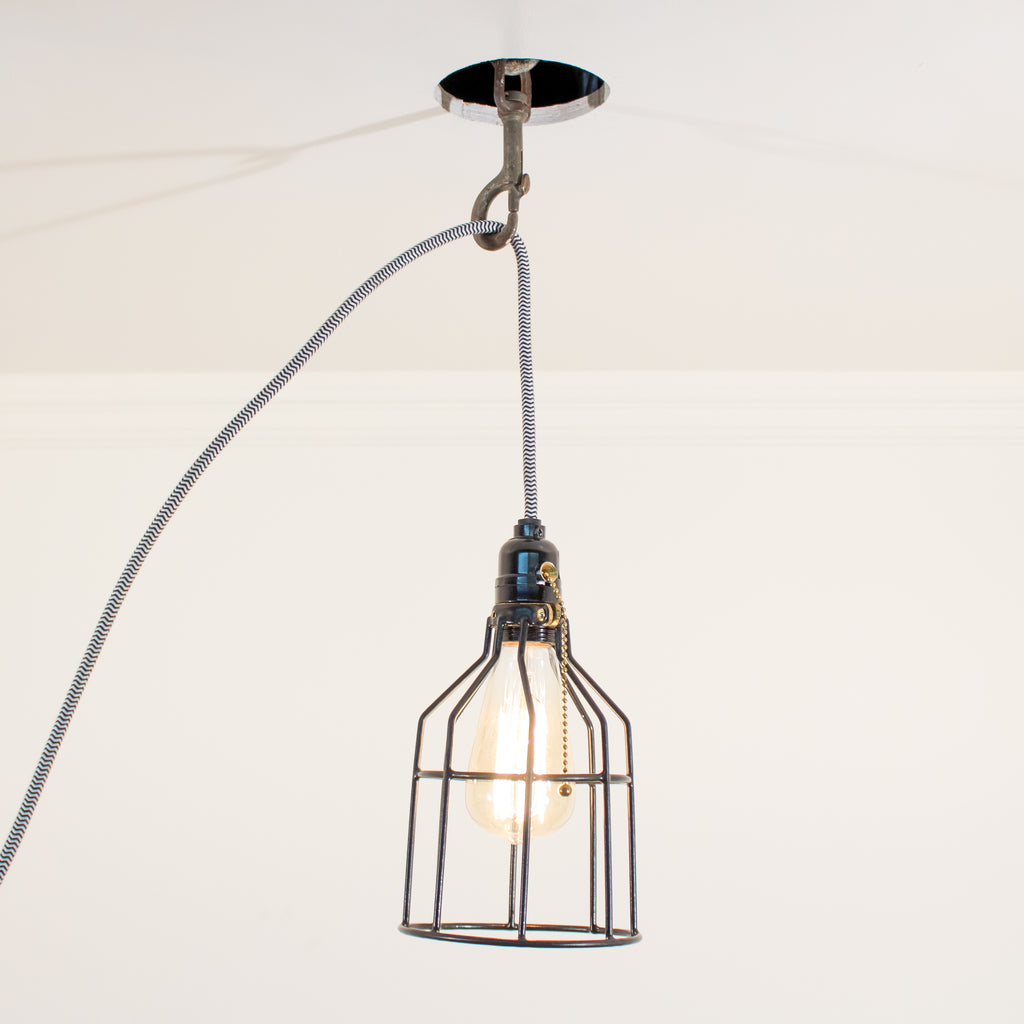 Black Cage Industrial Schoolhouse Electric Pendent Light
