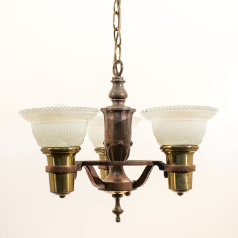 1940s 3 light Drop Brass In Ceiling Light Fixture