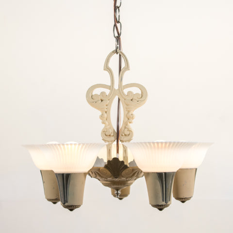 1940s 5 Light Ceiling Fixture with Opal Glass