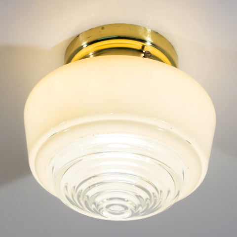 Flush Brass Ceiling Light with Mid-Century Shade