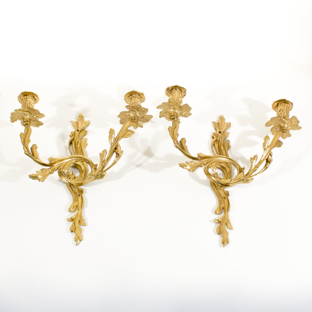 Brass Regency Mid-Century Candle Holder Sconces