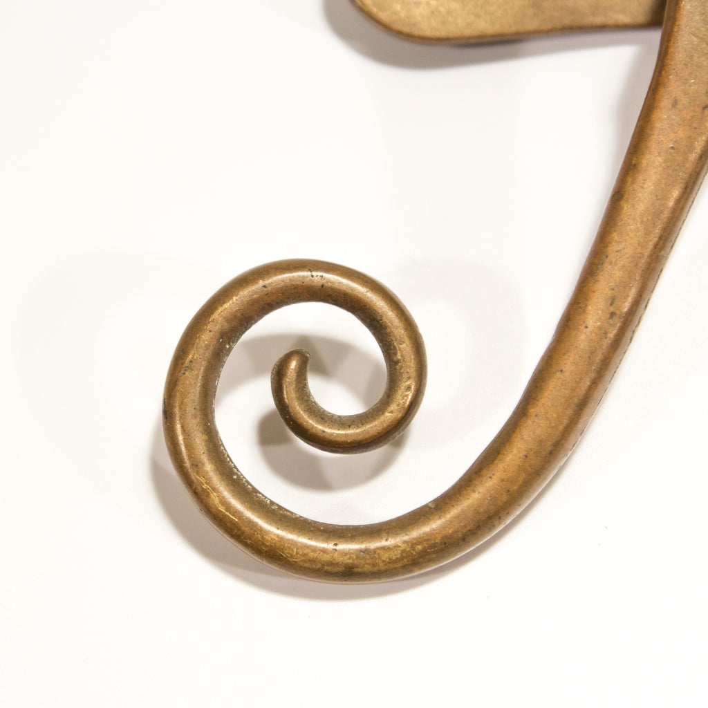 Art Nouveau Brass Window Latch with Strike