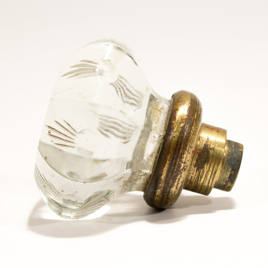 Carved glass doorknob