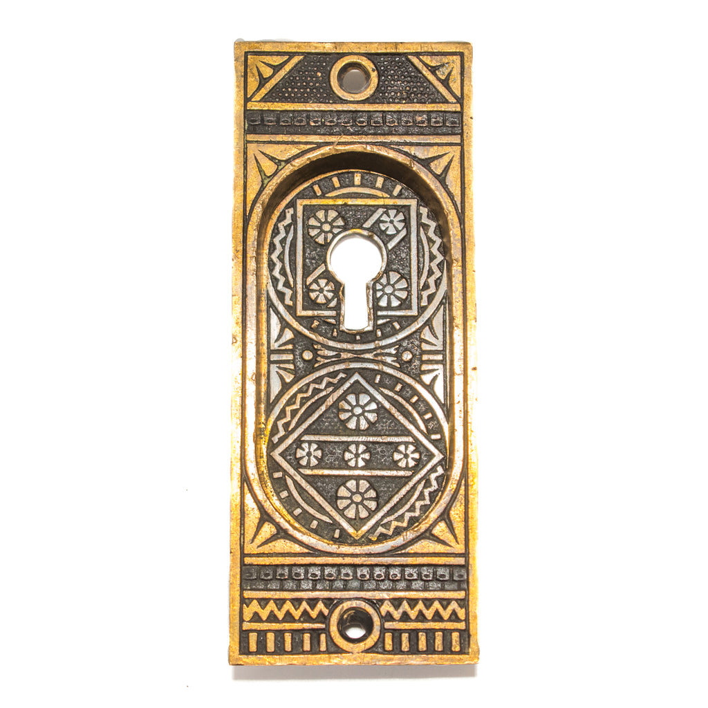 Linde Geometric Pattern Victorian Pocket Door Pull
