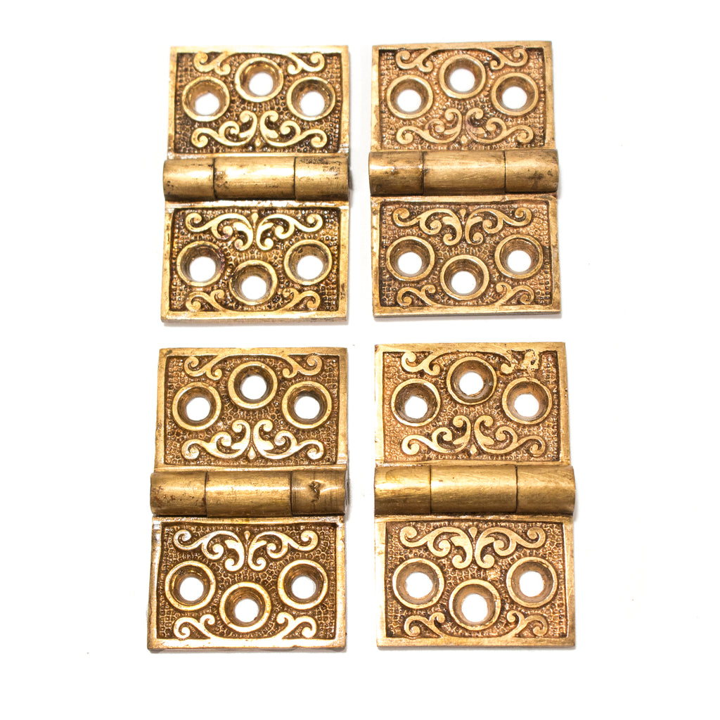 Small Ornate Brass Victorian Hinges