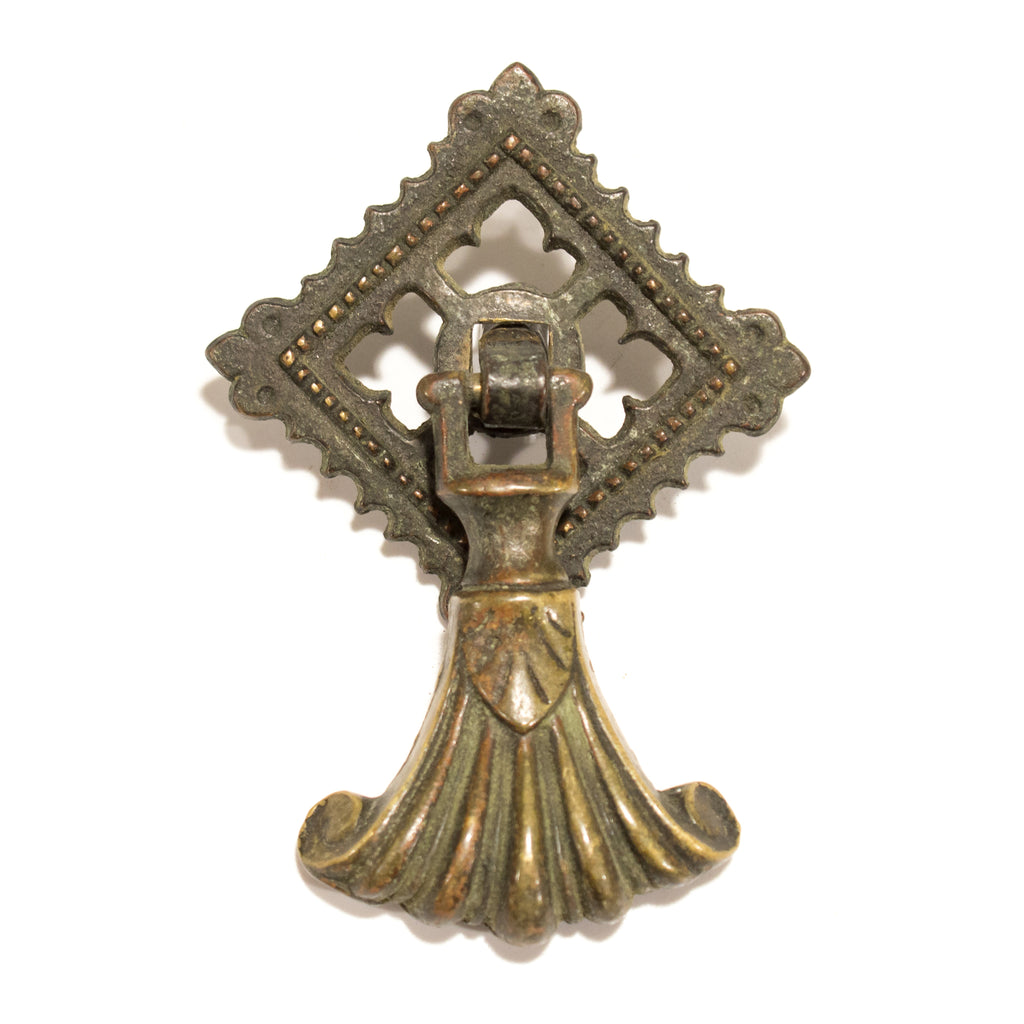 Victorian Antique Brass Ornate Drop Pull