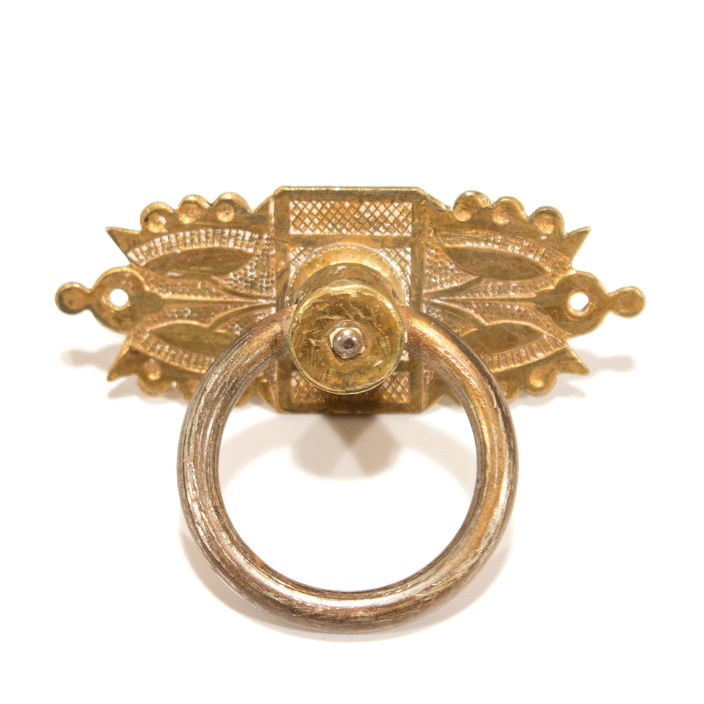 Victorian Brass Double Flower Ring Pull