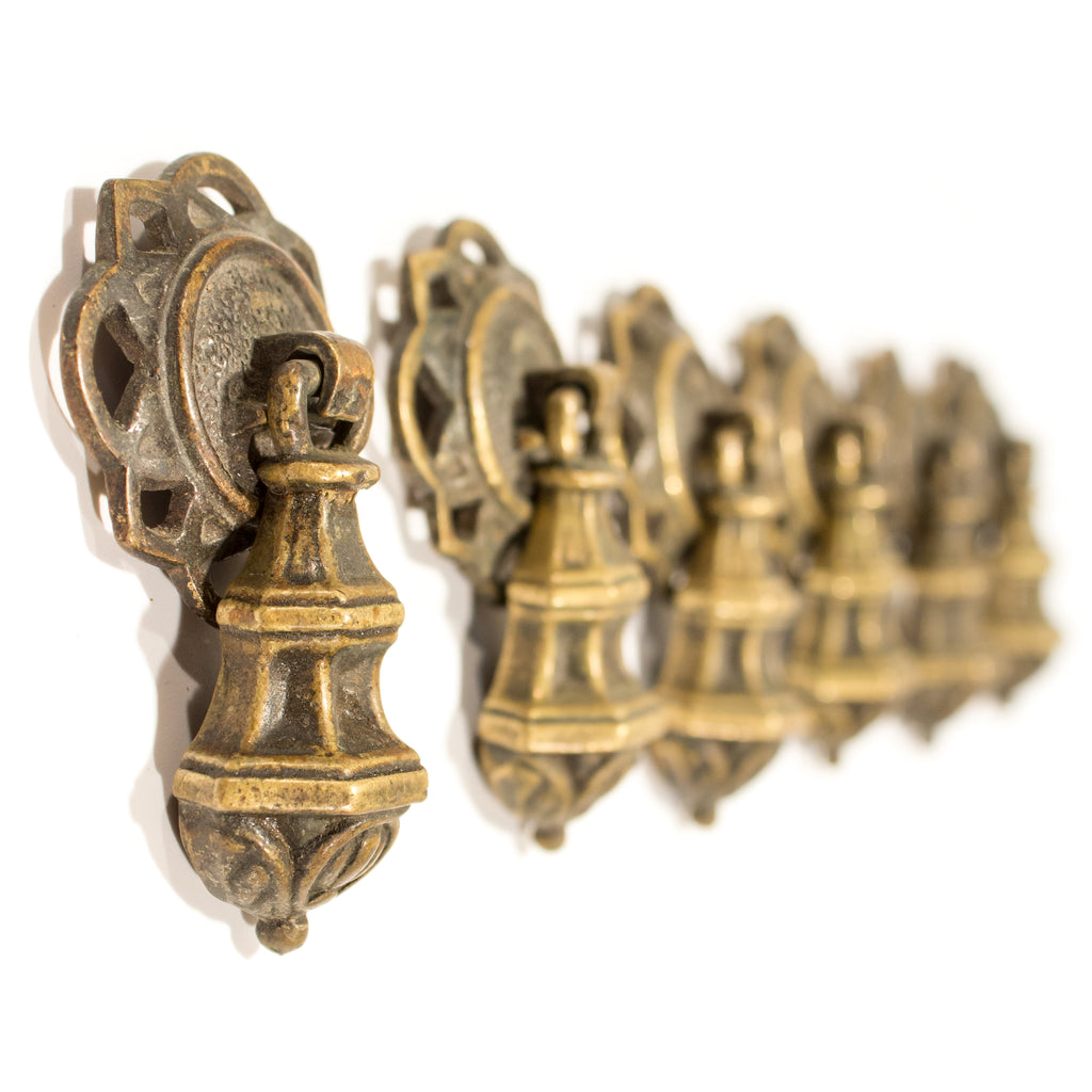 Ornate Colonial 1920s Brass Drop Pulls