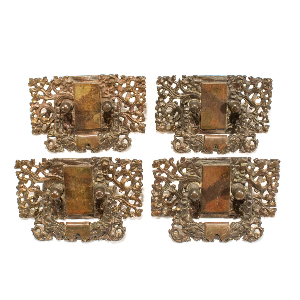 Nouveau Bronze Drawer Kelp Pattern Pulls