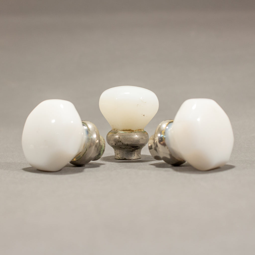 Milk Glass Octagonal Cabinet Knobs