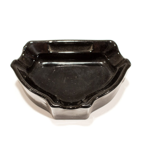 Vintage 1920s Deco Black Glass Ashtray