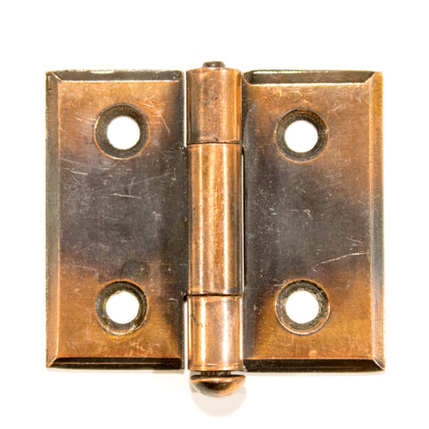 Copper Japanned Beveled Cabinet Hinges NOS