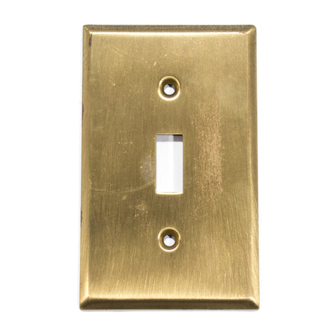 New Old Stock Brushed Brass Toggle Switch Plate