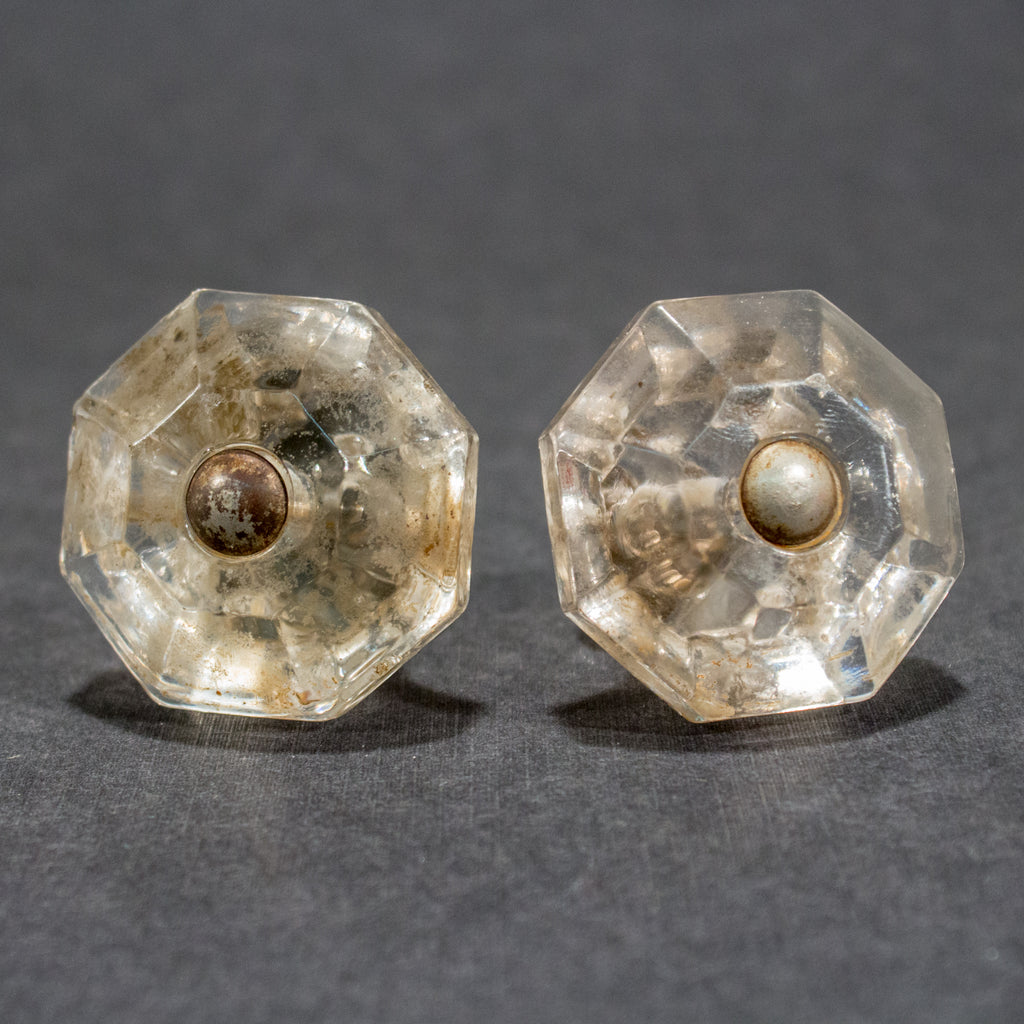 Octagonal Clear Glass Cabinet Knobs 1920s