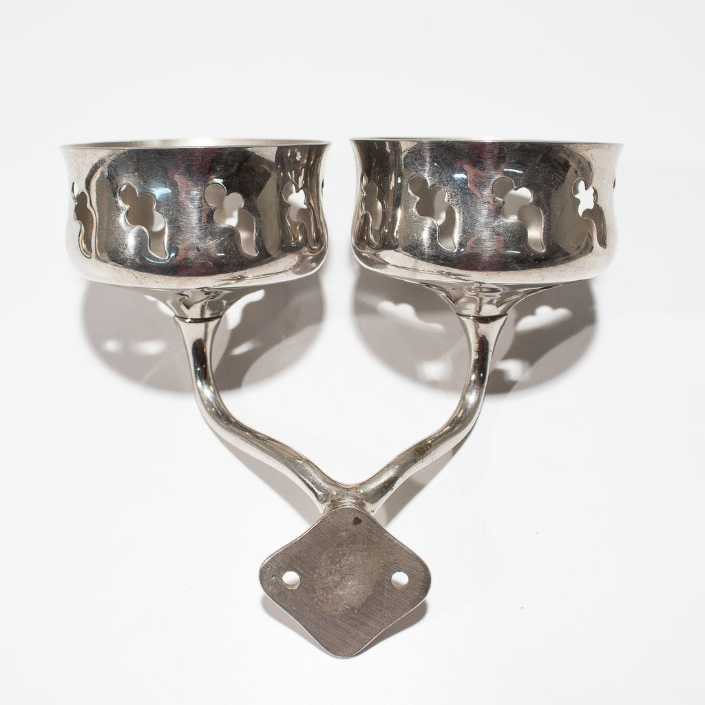 Antique Nickel San-o-la Double Cup Holder